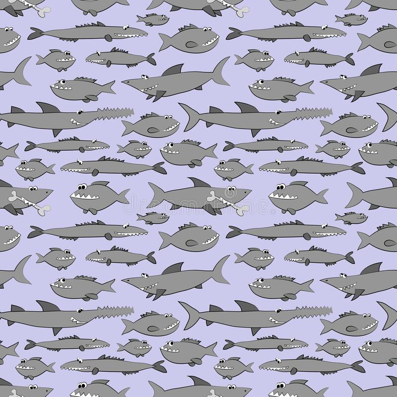 Free Predatory Fishes - Sharks And Piranhas, Seamless Pattern On Blue Background. Vector Stock Photography - 214627892