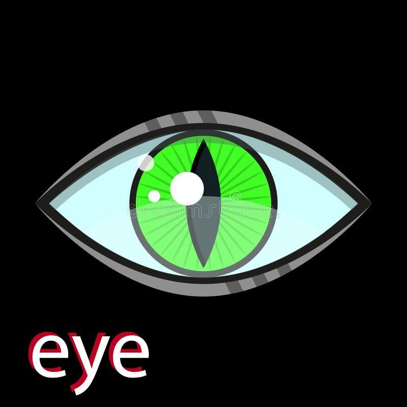 Predatory green eye isolated on black background. Vector illustration vector illustration