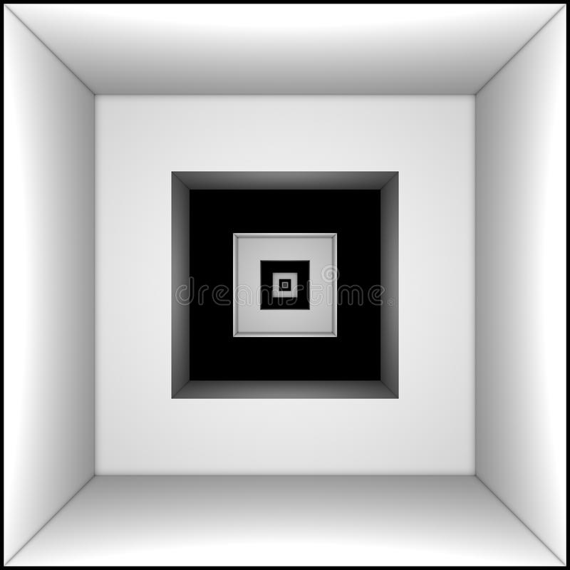 Predestination (symbol and metaphor). Long black and white tunnel. Predestination (symbol and metaphor royalty free illustration