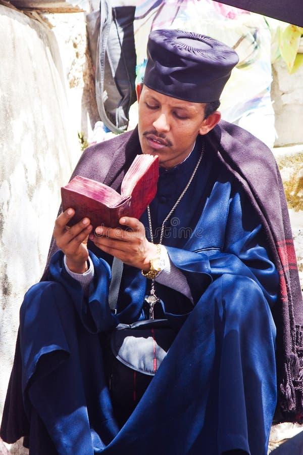 Predicador etíope que ruega fotografía de archivo libre de regalías