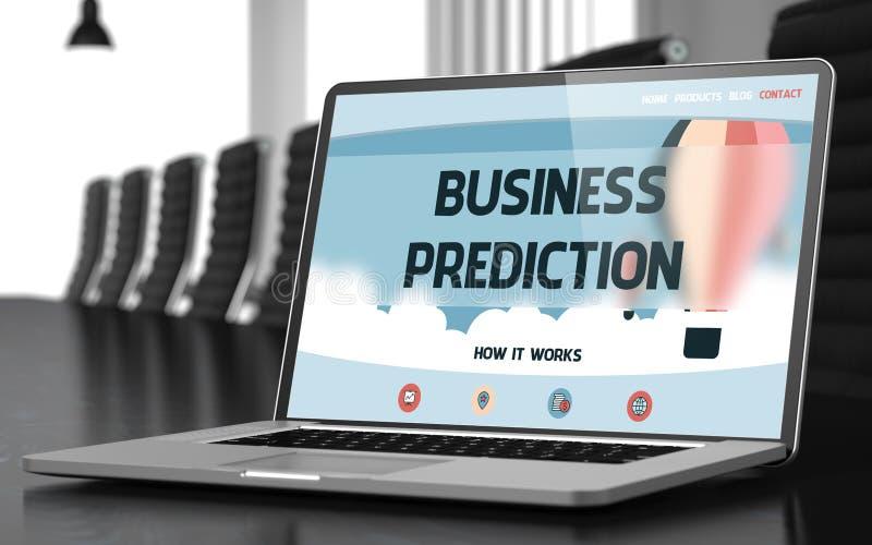 Predicción del negocio en el ordenador portátil en sala de reunión 3d imagen de archivo libre de regalías