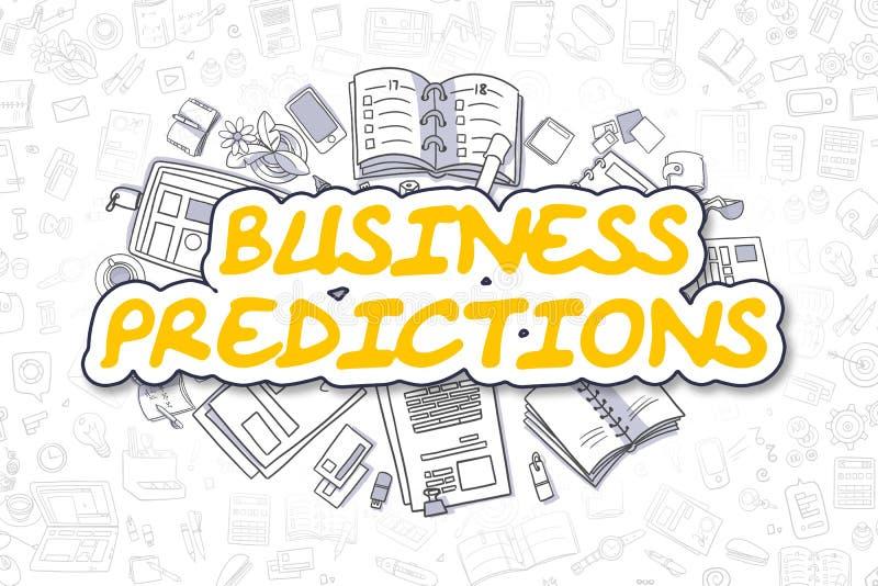 Predicciones del negocio - texto amarillo del garabato Concepto del asunto stock de ilustración