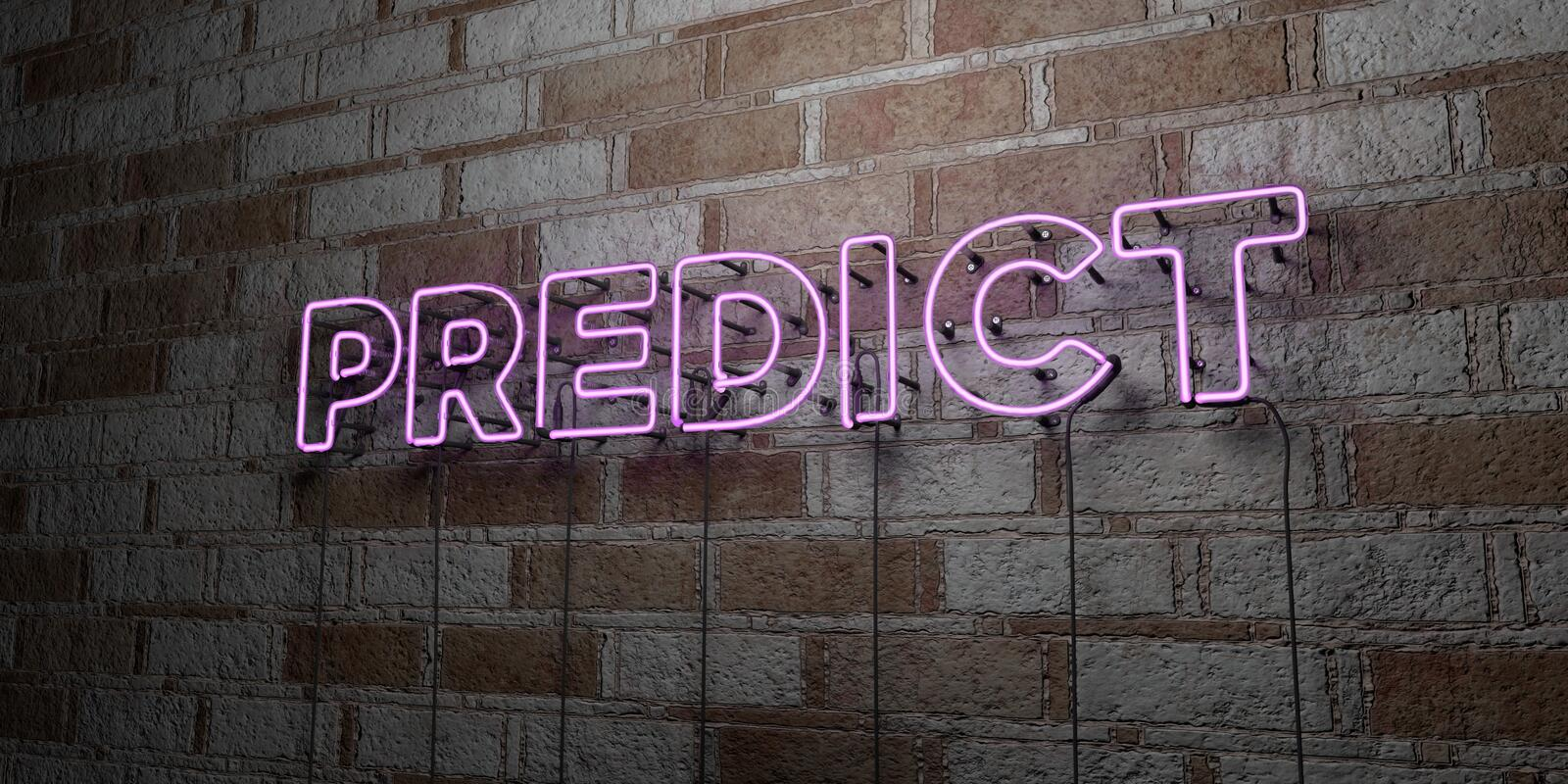 PREDICT - Glowing Neon Sign on stonework wall - 3D rendered royalty free stock illustration. Can be used for online banner ads and direct mailers stock illustration
