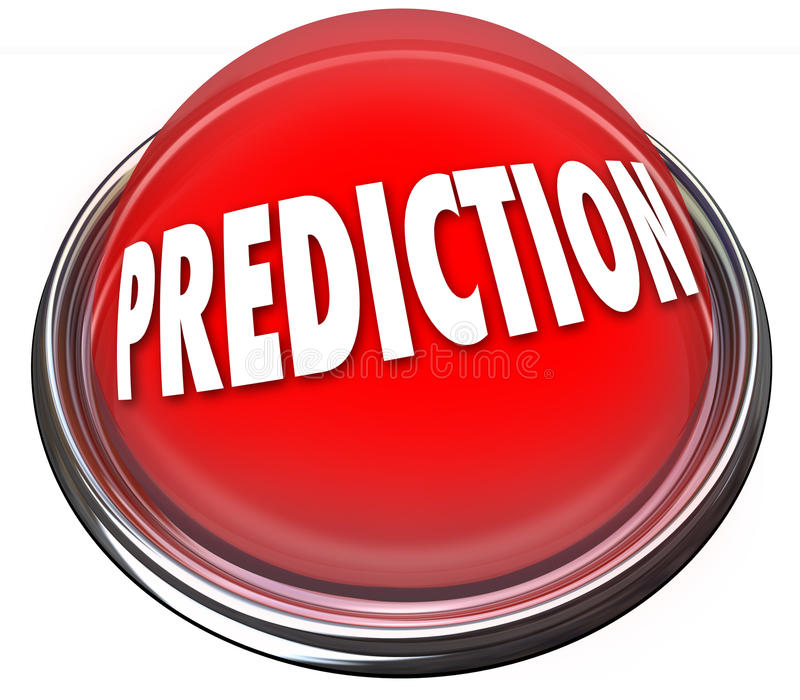 Prediction Red 3d Button Prophesy Fate Destiny Fortune Telling. Prediction word on a red button or flashing light to illustrate fate, destiny, prophesy or stock illustration