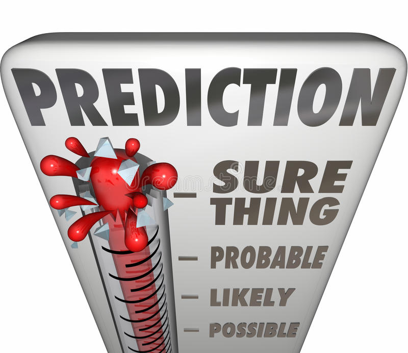 Prediction Thermometer Sure Thing Possible Probable Likely Outcome. Prediction word on a 3d thermometer measuring the possible or potential opportunity, outcome royalty free illustration