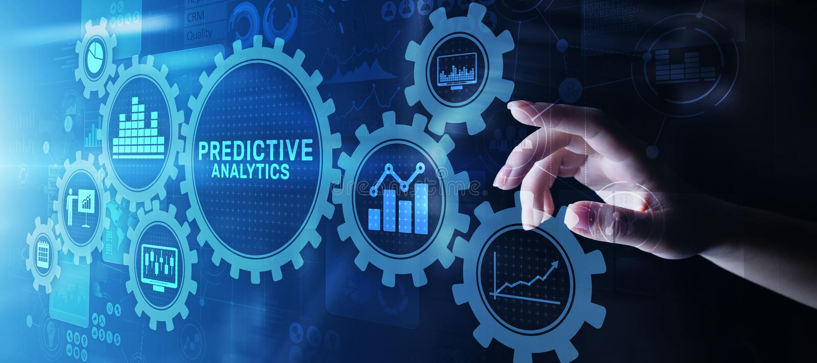 Predictive analytics Big Data analysis Business intelligence internet and modern technology concept on virtual screen. Predictive analytics Big Data analysis royalty free stock photos