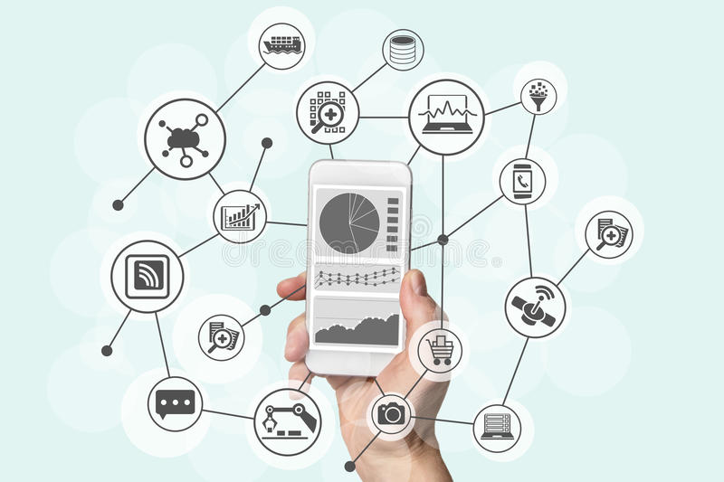 Predictive analytics and big data concept with hand holding modern smart phone to analyze data from marketing, shopping stock photo
