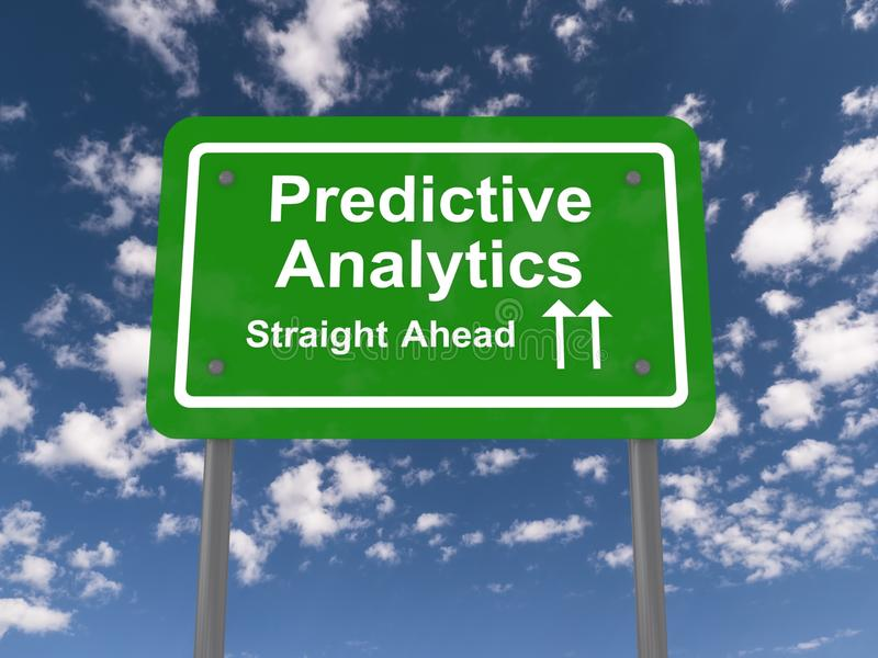 Predictive analytics. Illustration of the green sign with white letters saying predictive analytics straight ahead with blue sky and clouds as a background stock illustration