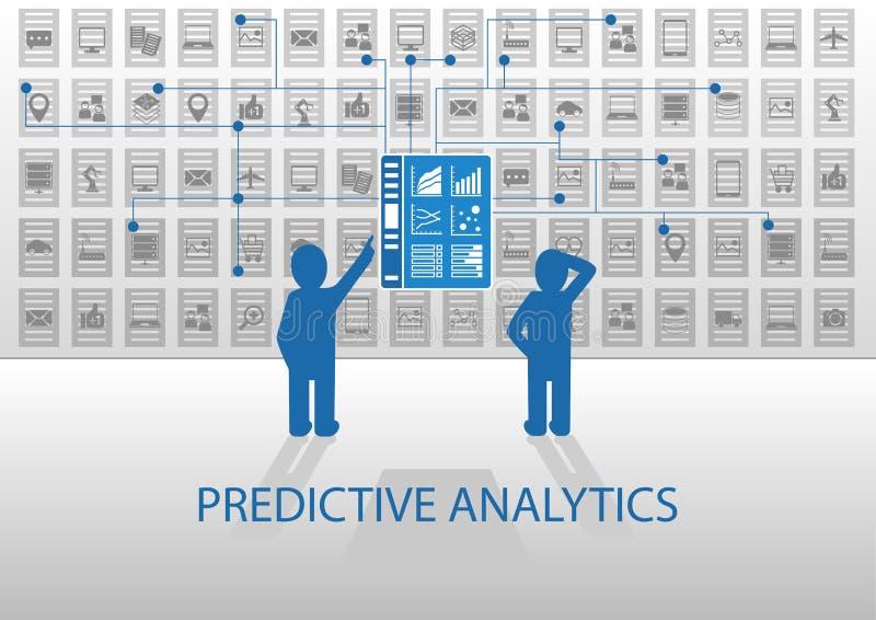 Predictive analyticsillustration Två analytiker som analyserar anmäla instrumentbrädan stock illustrationer