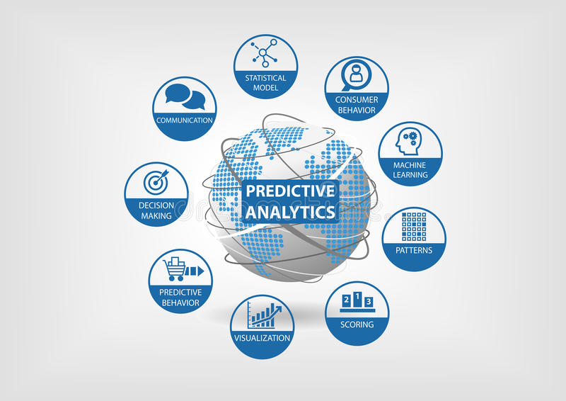 Predictive web and data analytics icons. Globe and world map with analytics components like consumer behavior, statistical. Models, machine learning, scoring vector illustration
