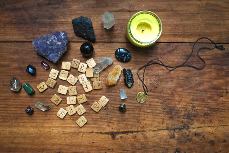 Predictive wooden runes. Natural stones, clairvoyance. Predictive wooden runes.  Natural stones, clairvoyance royalty free stock photography