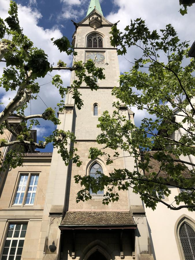 Predigerkirche - one of the four main churches of the old town of Zurich. Switzerland stock photography