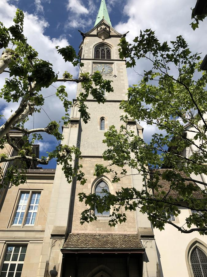 Predigerkirche - one of the four main churches of the old town of Zurich. Switzerland stock photos