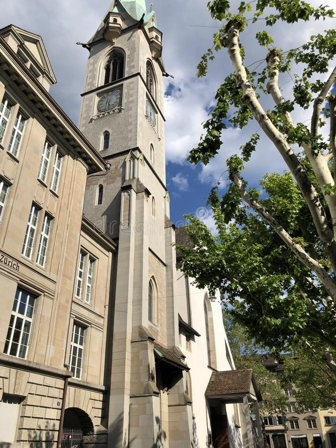 Predigerkirche - one of the four main churches of the old town of Zurich. Switzerland royalty free stock photos