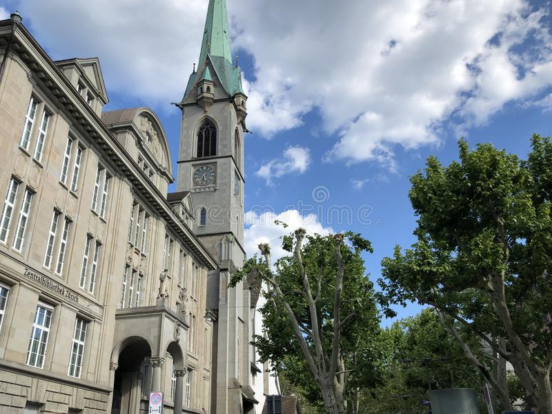Predigerkirche - one of the four main churches of the old town of Zurich. Switzerland royalty free stock photo