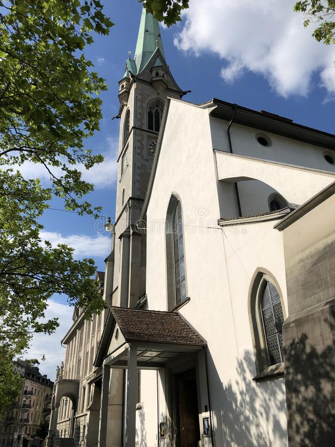 Predigerkirche - one of the four main churches of the old town of Zurich. Switzerland royalty free stock photography