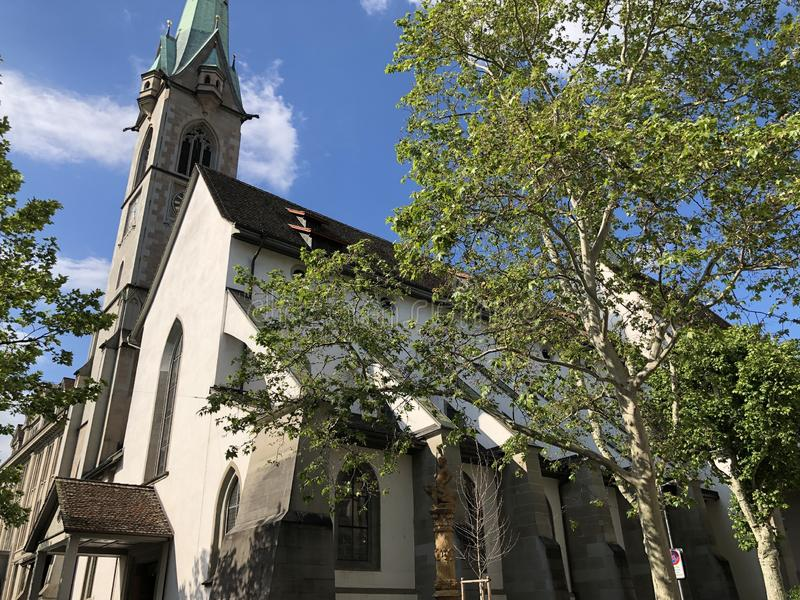 Predigerkirche - one of the four main churches of the old town of Zurich. Switzerland stock photo