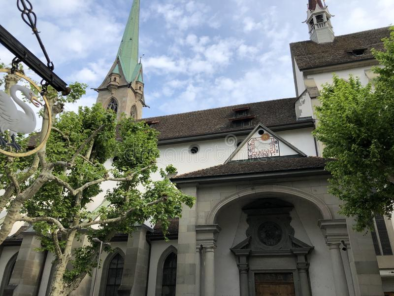 Predigerkirche - one of the four main churches of the old town of Zurich. Switzerland stock image