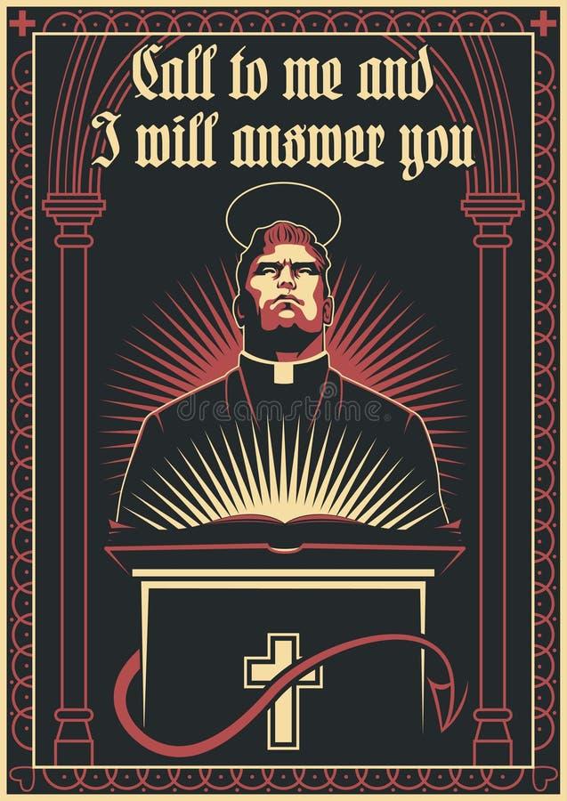 Prediker, Heiligheid en van Sinfulness Vectorillustratie vector illustratie