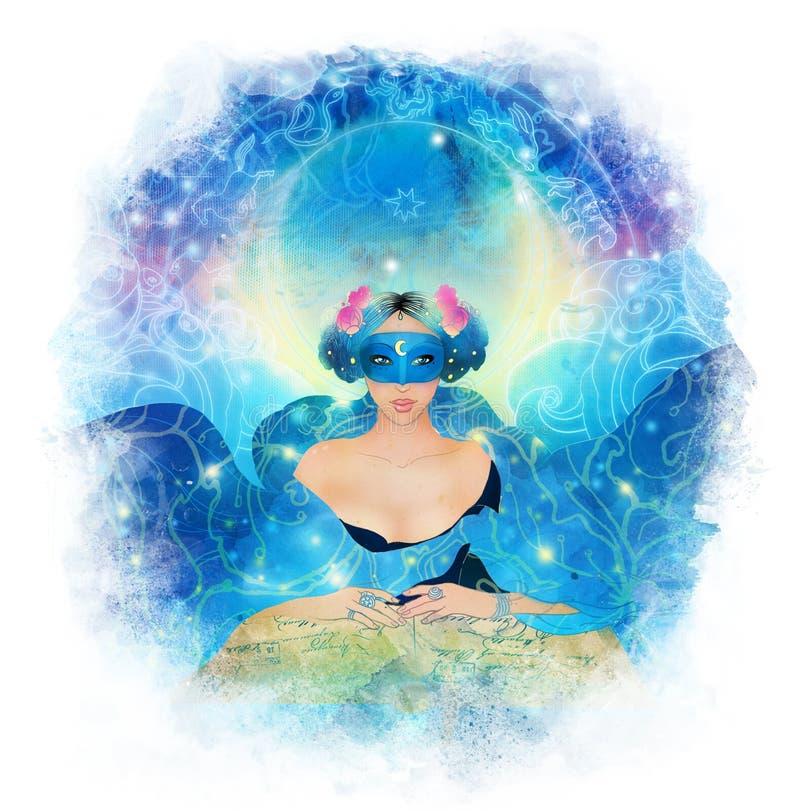 Predizione: giovane bella donna nella maschera una lettura della sciarpa illustrazione vettoriale