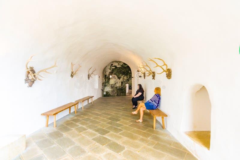 Predjama Slovenien - 22 07 2018: Inre av den medeltida Predjama slotten nära den Postojna grottan Slovenien fästning och inre dec royaltyfri foto