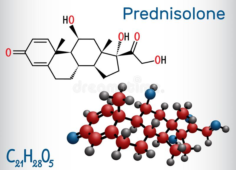 Prednisolone molecule. Is known as a corticosteroid or steroid medication. Structural chemical formula and molecule model vector illustration