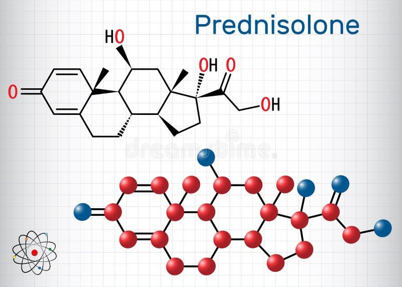 Prednisolonemolecule Is gekend als corticosteroid of steroid medicijn Structureel chemisch formule en moleculemodel blad royalty-vrije illustratie