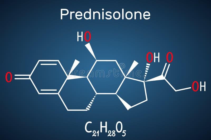 Prednisolonemolecule Is gekend als corticosteroid of steroid medicijn Structurele chemische formule op de donkerblauwe achtergron vector illustratie