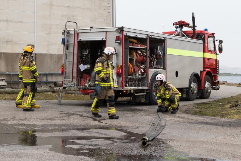 Preemraff firefighters training in Grötö industrial area 3 stock images