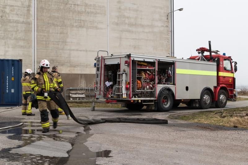 Preemraff firefighters training in Grötö industrial area 1 royalty free stock photography