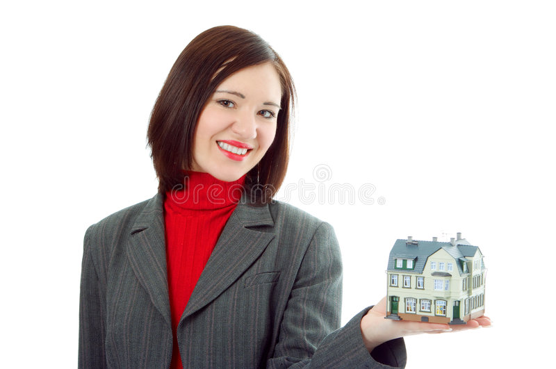 Preensão da mulher pouca casa na mão imagens de stock