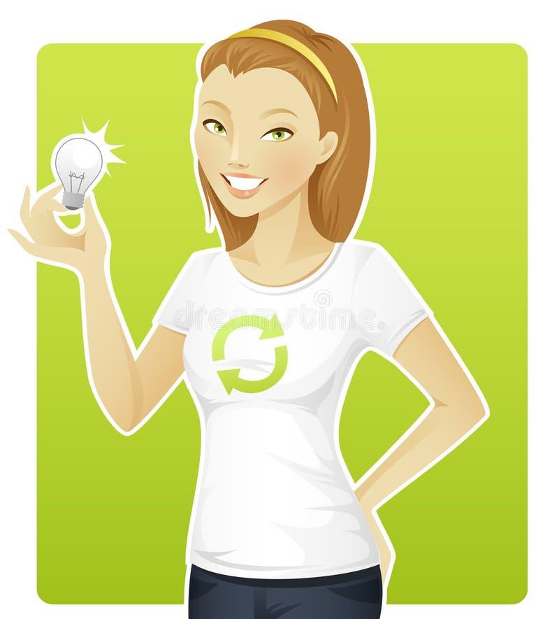 Preensão Eco-friendly da mulher uma lâmpada ilustração stock