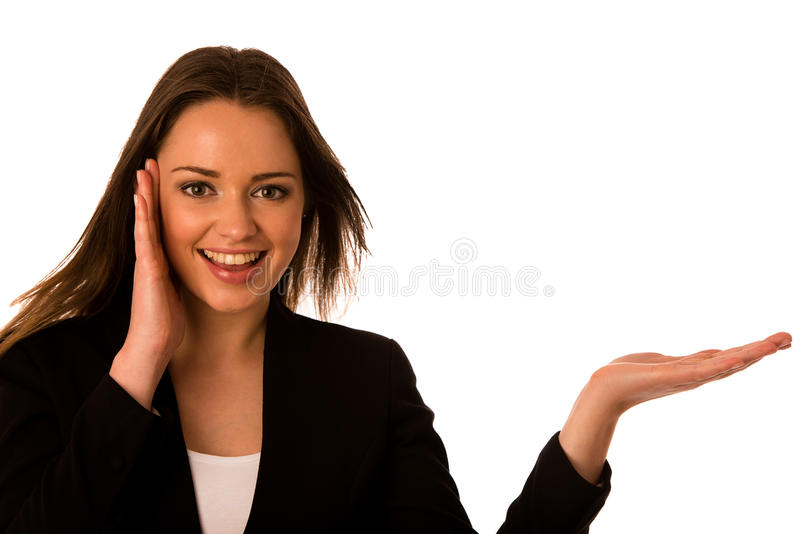 Preety asian caucasian business woamn looking confident into cop royalty free stock photography
