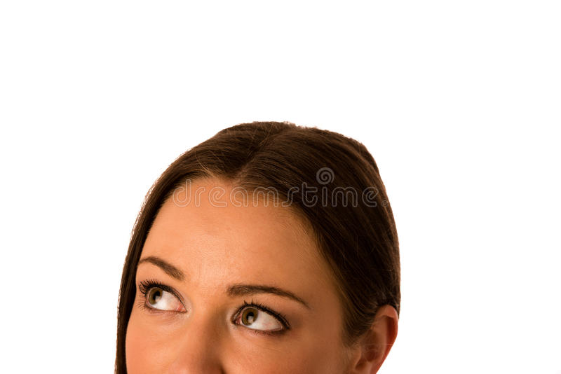 Preety asian caucasian business woamn looking confident into cop royalty free stock image
