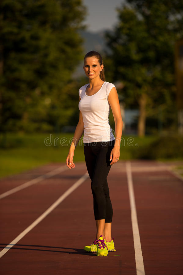 Free Preety Young Woman Running On A Track Stock Photos - 44909073