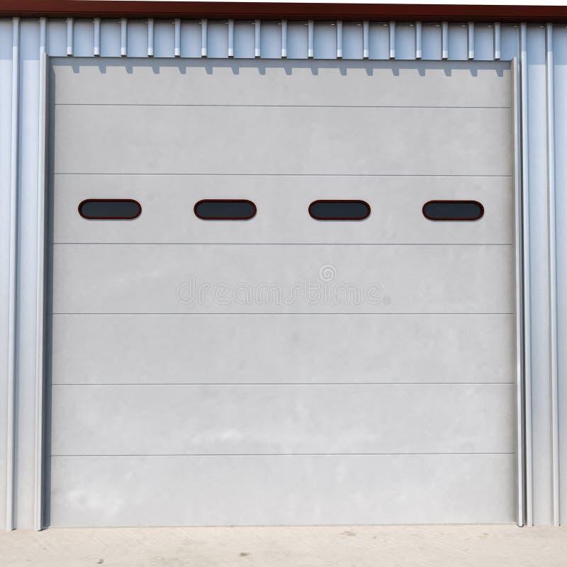 Prefab πόρτα γκαράζ οικοδόμησης χάλυβα στο λευκό τρισδιάστατη απεικόνιση διανυσματική απεικόνιση