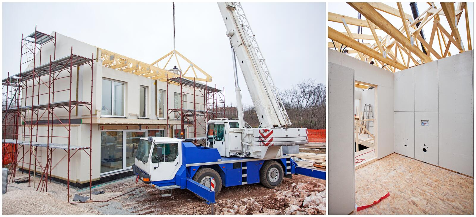 Prefabricated house building royalty free stock images
