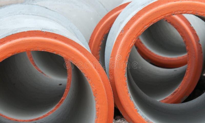 Prefabriceer concrete verbonden pijpen royalty-vrije stock fotografie