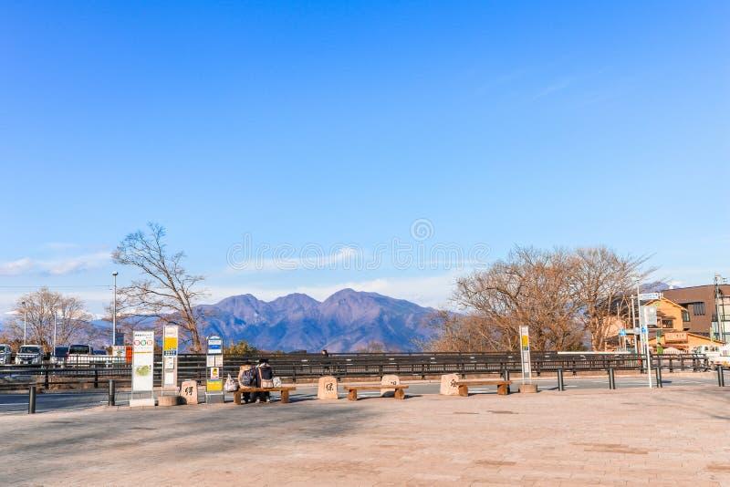 Prefectura de Gunma, Japón - 18 de diciembre de 2016: Ikaho Onsen en autu imágenes de archivo libres de regalías