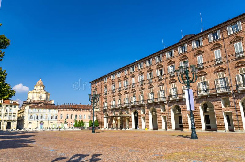 Prefecture Palazzo del Governo Palace buildings and San Lorenzo Saint Lawrence church. On Castle Square Piazza Castello in historical centre of Turin Torino stock photos