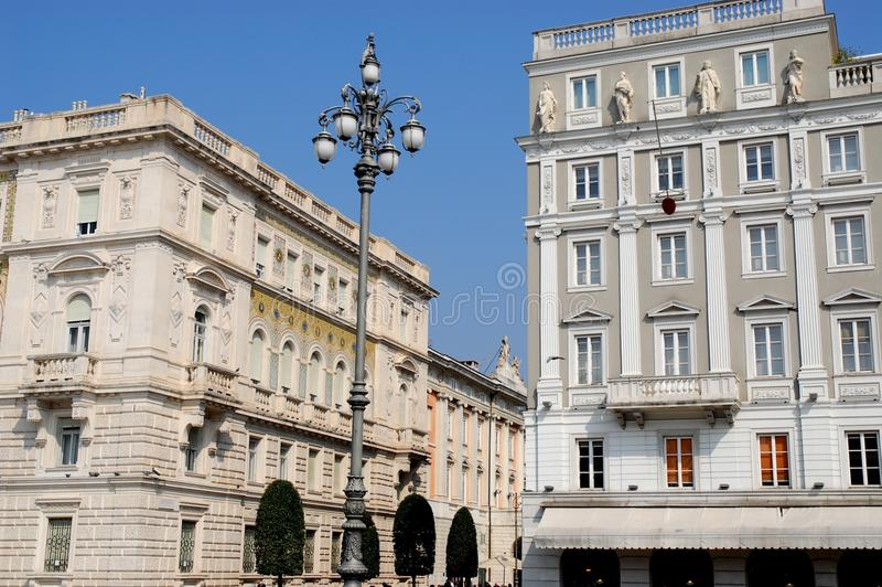 Prefectuur en modelbouw in Triëst in Friuli Venezia Giulia (Italië) stock afbeelding