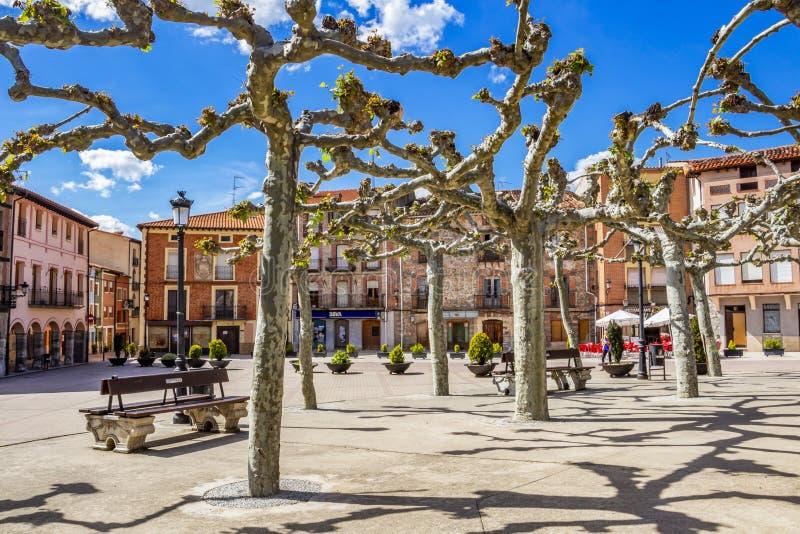 Prefeito da plaza ou quadrado principal em Belorado, Burgos, Castilla y Leon, Espanha imagens de stock