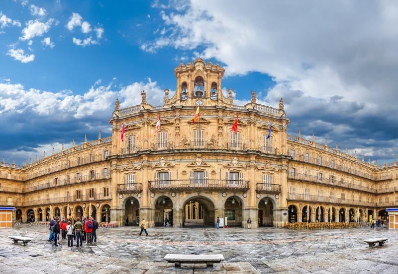 Prefeito histórico famoso da plaza em Salamanca, Castilla y Leon, Espanha imagens de stock
