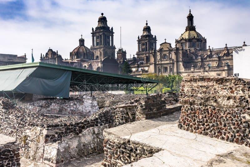 Prefeito metropolitano Zocalo Mexico City México de Templo da catedral foto de stock