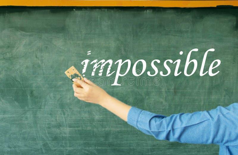 Prefixo de supressão manual do impossível no quadro fotos de stock