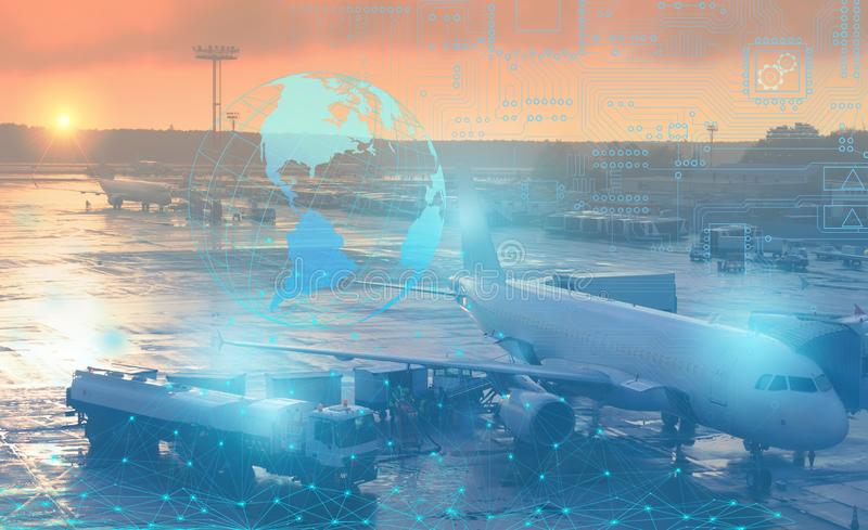 Preflight preparation of the aircraft for departure. Conceptual representation of the use of modern technology and artificial inte stock photography