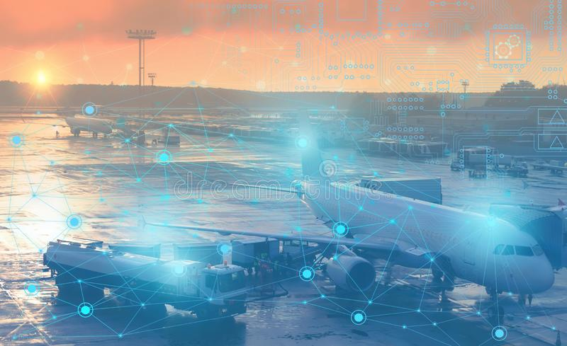 Preflight preparation of the aircraft for departure. Conceptual representation of the use of modern technology and artificial inte royalty free stock image