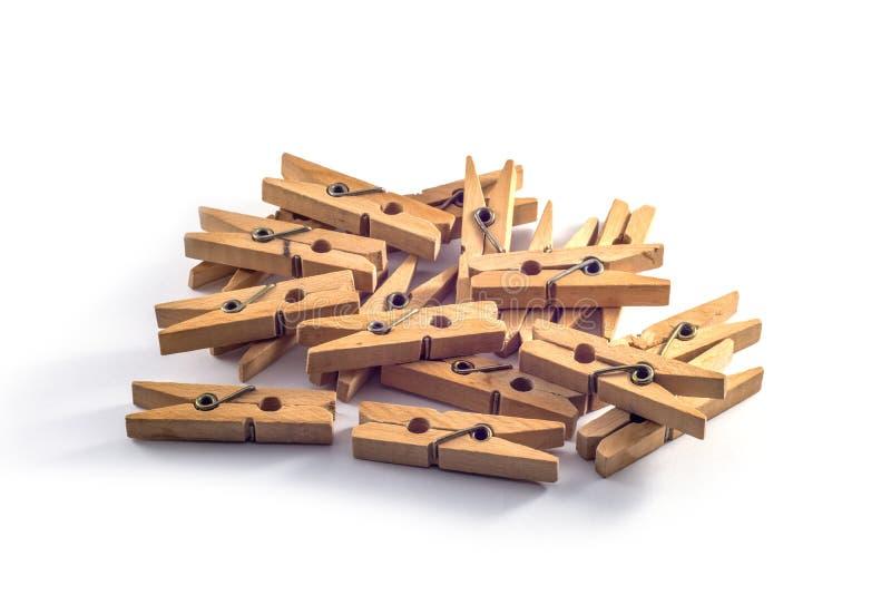 Pregadores de roupa de madeira fotografia de stock