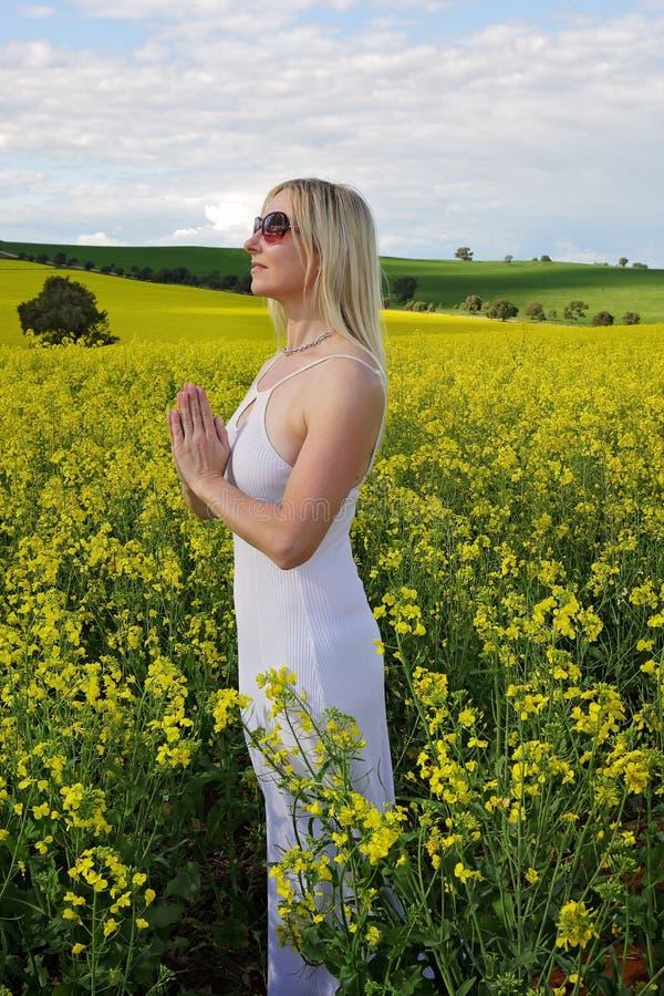 Pregando per la buona agricoltura del raccolto dei raccolti della pioggia fotografia stock libera da diritti