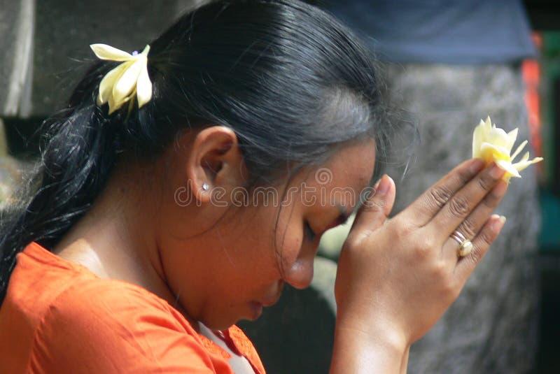 Pregare della ragazza di balinese - alto vicino fotografia stock libera da diritti
